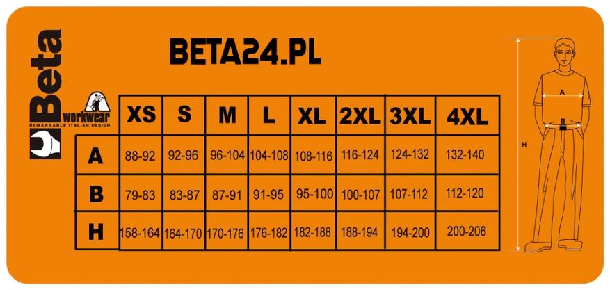 3e30a60bd Tabele rozmiarów ubrań roboczych - sklep internetowy Beta24.pl