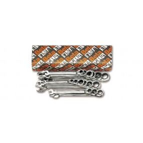 Komplet 17 kluczy płasko-oczkowych dwustronnych z mechanizmem zapadkowym Beta 142/S17 - rozmiary: 6-27 mm