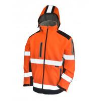 Kurtka Softshell ostrzegawcza pomarańczowa z kapturem Vizwell VWJK177ON