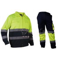 Kurtka robocza ostrzegwcza Vizwell VWTC06-BYN wraz ze spodniami ostrzegawczymi Vizwell VWTC17YN