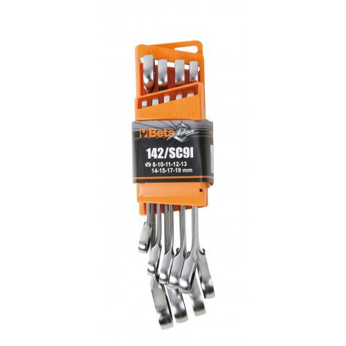 Komplet 9 kluczy płasko-oczkowych z mechanizmem zapadkowym Beta 142/SC9I