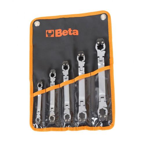 Komplet 5 kluczy oczkowych otwieranych sześciokątnych z przegubem Beta 187/B5 - rozmiary: 8-17 mm