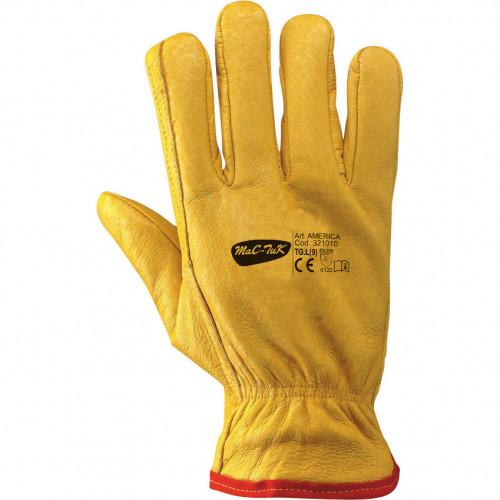 """Rękawice """"AMERICA M"""" ze świńskiej skóry licowej na podszewce z polaru MAC-TUK 321010"""