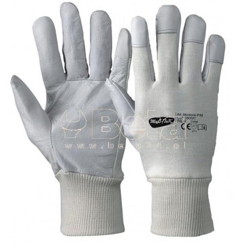 Rękawice białe ze skóry owczej i bawełny Montone MAC-TUK 380021