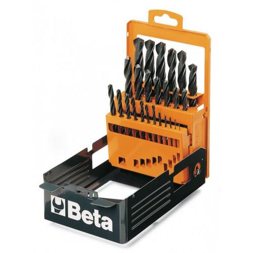 Komplet 25 wierteł krętych, cylindrycznych, krótkich, walcowanych, HSS Beta 410 - rozmiary: 1-13x0.5mm