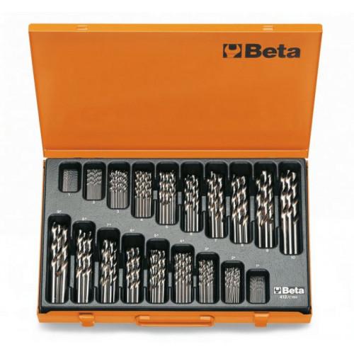 Komplet 150 wierteł cylindrycznych krótkich szlifowanych Beta 412/C150 - Ø 1÷10 x 0,5 mm