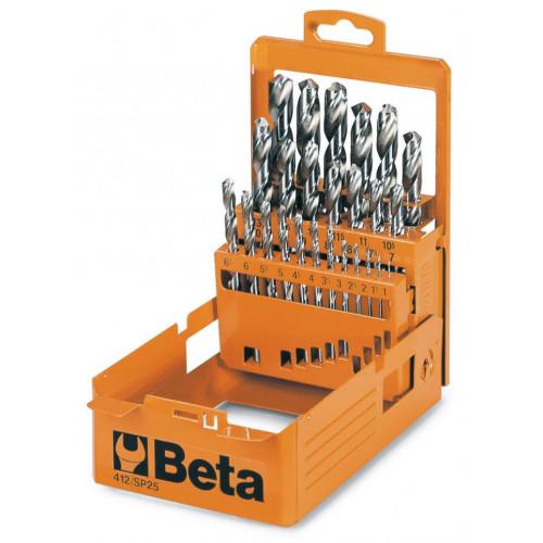 Komplet 49 wierteł cylindrycznych krótkich szlifowanych Beta 412/SP49 - Ø 1÷13 x 0,25 mm