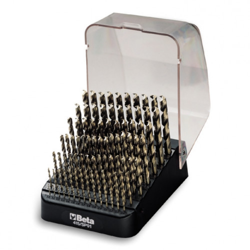 Zestaw 91 wierteł krętych cylindrycznych krótkich szlifowanych kobaltowych w pudełku Beta 415/SP91 - Ø 1÷10 x 0,10 mm