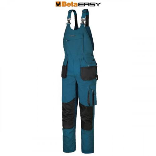 Spodnie robocze na szelkach niebieskozielone Easy Beta 7903P
