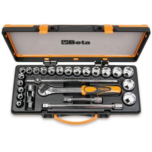 """Zestaw 20 nasadek sześciokątnych 1/2"""" z akcesoriami w pudełku metalowym Beta 920A/C20X"""