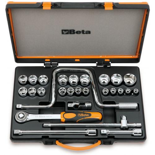 """Zestaw 21 nasadek sześciokątnych 1/2"""" z akcesoriami w pudełku metalowym Beta 920A/C21X"""