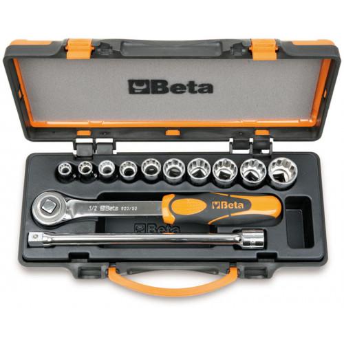 Zestaw 10 nasadek calowych dwunastokątnych z akcesoriami Beta 920AS/C10