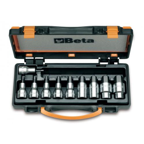 """Komplet 10 nasadek 1/2"""" z końcówką trzpieniową sześciokątną Beta 920PE/C10 - rozmiary: 4-19mm"""