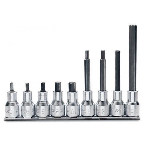 """Komplet 9 nasadek 1/2"""" z końcówką trzpieniową sześciokątną Beta 920PE/SB9 - rozmiary: 4-10mm"""