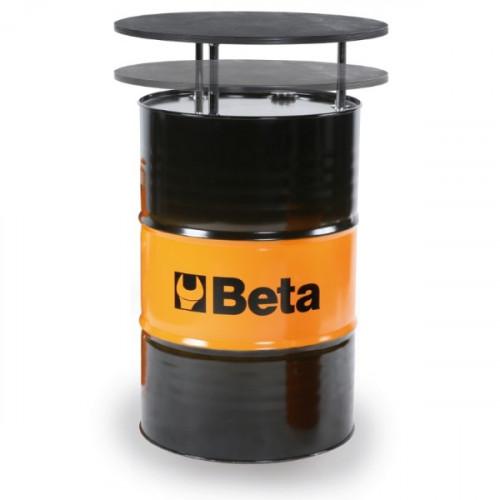 Stół z beczki blaszanej z lakierowanym wielowarstwowym blatem brzozowym Beta 9565T