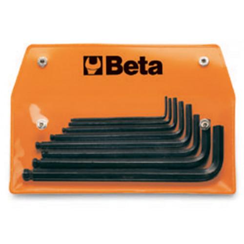 Komplet 8 kluczy trzpieniowych kątowych, sześciokątnych z końcówką kulistą, calowych Beta 96BP-AS/8