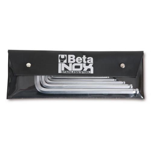 Komplet 8 kluczy trzpieniowych kątowych z końcówką kulistą ze stali nierdzewnej Beta 96BPINOX-AS/B8