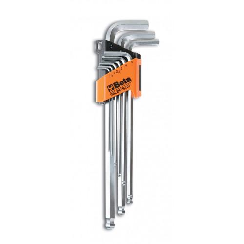 Komplet 9 kluczy trzpieniowych długich z kulistą końcówką Beta 96LBP/SC9 - rozmiary: 1.5-10 mm