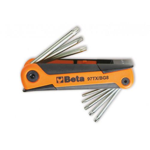 Komplet 8 kluczy trzpieniowych, kątowych z końcówką Torx Beta 97TX/BG8 - rozmiary: T9-T40
