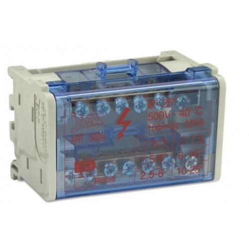 Blok rozdzielczy 100A modułowy dwubiegunowy 2P 5x(1,5-6 mm2)+2x(6-16mm2) BM Group BM9904