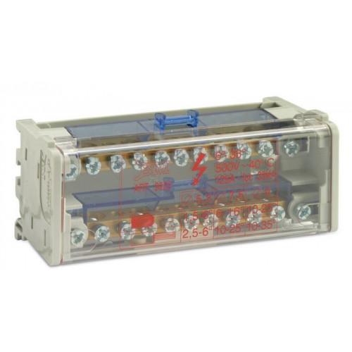 Blok rozdzielczy 125A modułowy dwubiegunowy 2P 7x(1,5-6 mm2)+2x(6-16mm2)+2X(10-25mm2) BM Group BM9905