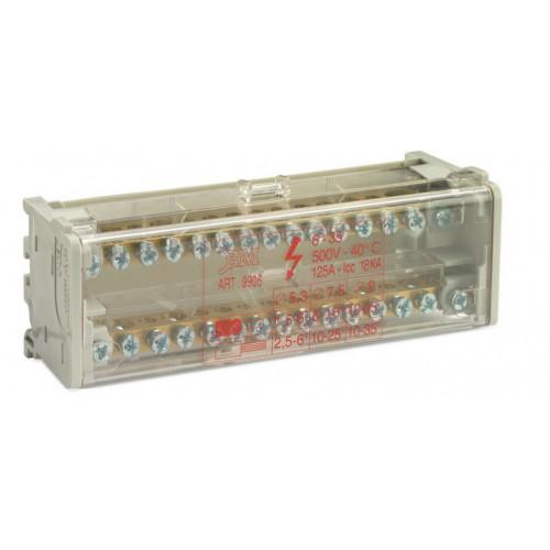 Blok rozdzielczy modułowy dwubiegunowy 2P 11x(1,5-6 mm2)+2x(6-16mm2) BM Group BM9906