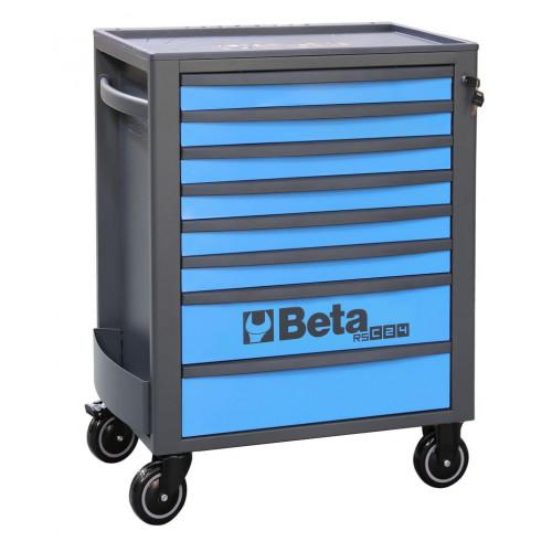 Wózek narzędziowy pusty z 8 szufladami niebiesko-szary Beta 2400/RSC24/8-B