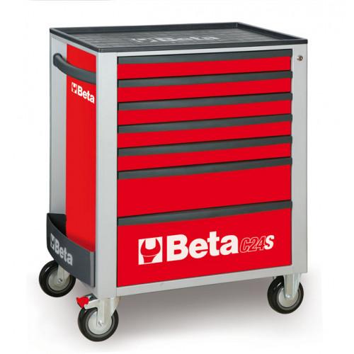 Wózek narzędziowy C24S7 czerwony z zestawem 215 narzędzi Beta 2400S7/M7/R