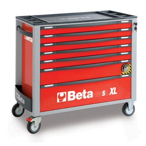 Wózek narzędziowy pusty z 7 szufladami z systemem zabezpieczającym przed przewróceniem Beta 2400/C24SAXL/7-R