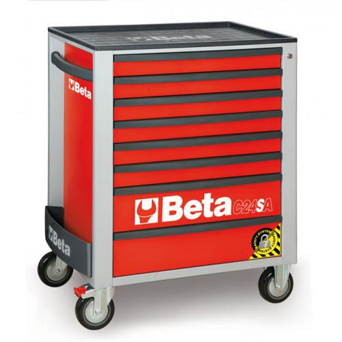 Wózki narzędziowe z 8 szufladami z systemem zabezpieczającym przed przewróceniem Beta 2400/C24SA/8-R