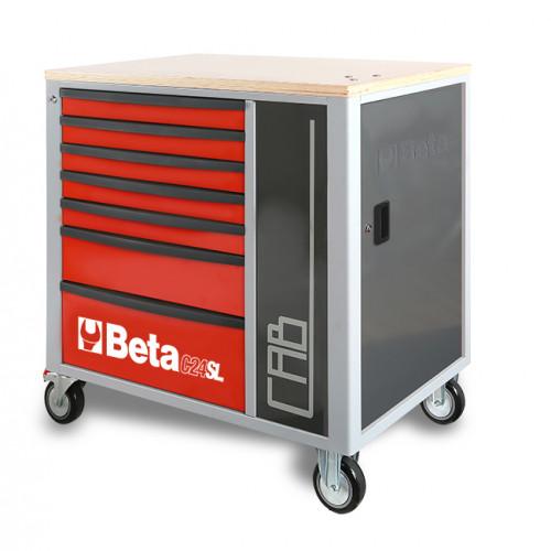 Wózek narzędziowy z 7 szufladami i szafką Beta C24SL-CABR