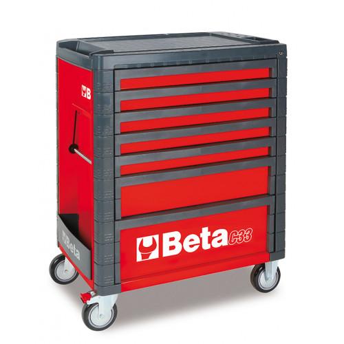 Wózek narzędziowy C33 czerwony z zestawem 215 narzędzi Beta 3300C7/M7/R