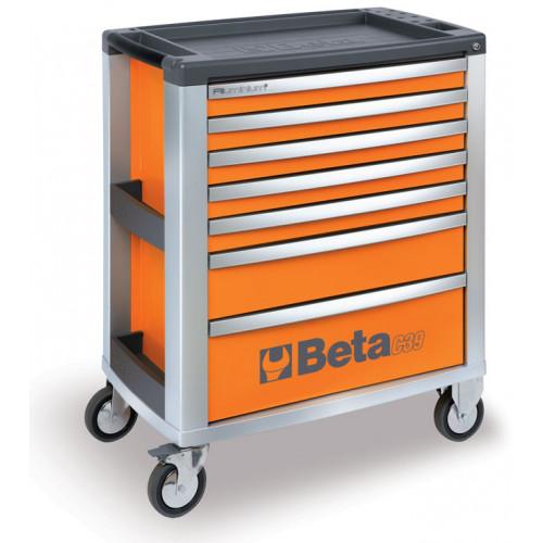 Wózek narzędziowy pomarańczowy z 7 szufladami Beta 3900/C39-7/O