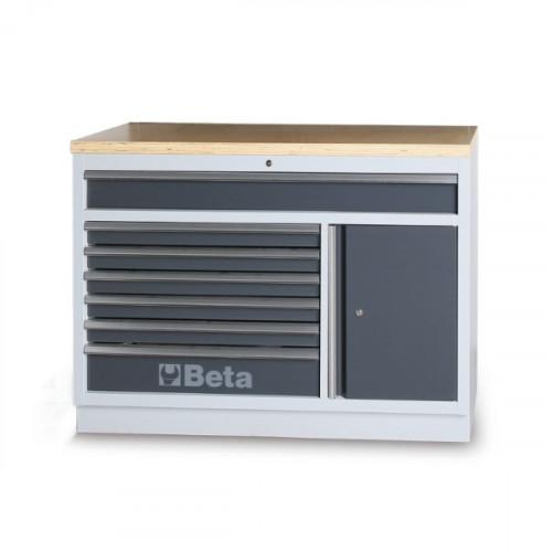 Moduł stały z 7 szufladami i blatem drewnianym Beta 4500/C45M7A/W