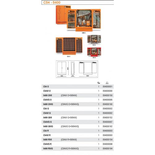 Szafka narzędziowa czerwona C54VIR z zestawem 115 narzędzi Beta 5400R/VI