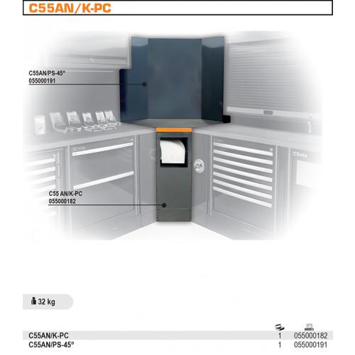 Narożnik wewnętrzny dolny z uchwytem na rolkę ręcznika papierowego do systemu Beta C55