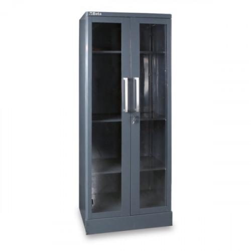 Szafa dwudrzwiowa z blachy z przezroczystymi drzwiami z poliwęglanu Beta 5500/C55AT2
