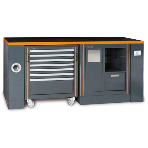 Zestaw stołu warsztatowego, modułu stałego i wózka narzędziowego Beta 5500/C55-PRO/4