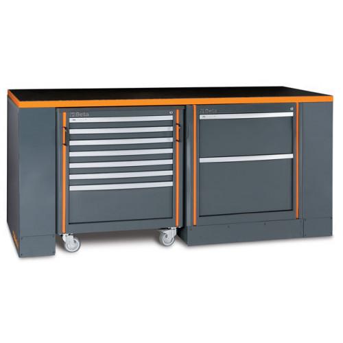 Zestaw stołu warsztatowego, modułu stałego i wózka narzędziowego Beta C55B/3