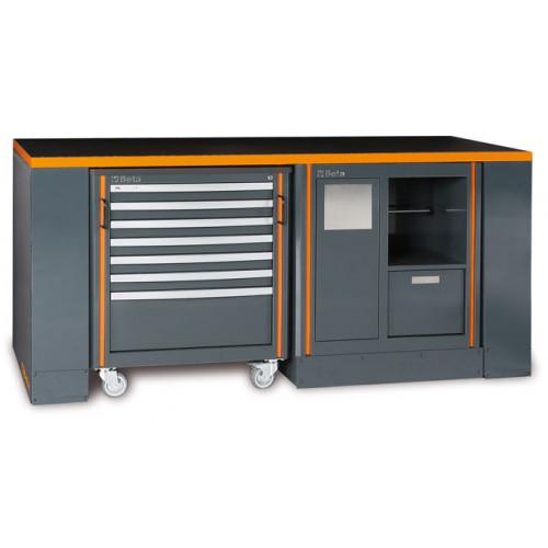 Zestaw stołu warsztatowego, modułu stałego i wózka narzędziowego Beta C55B/4