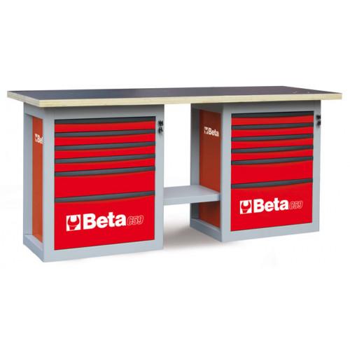 """Stół warsztatowy """"Endurance"""" z 2 szafkami narzędziowymi z sześcioma szufladami Beta 5900/C59BR"""