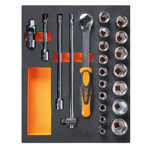 Zestaw 22 narzędzi w miękkim wkładzie profilowanym Beta 2450/M96