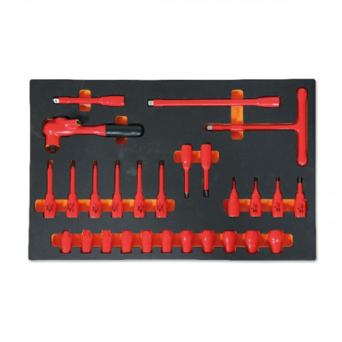 Zestaw 27 narzędzi w izolacji do 1000V w miękkim wkładzie Beta 2450/M108