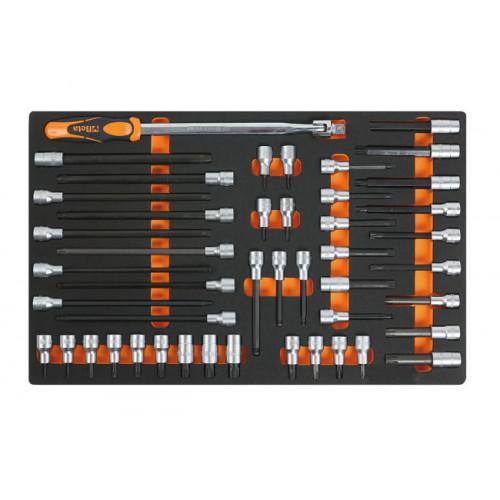 Wkład profilowany miękki z zestawem 46 nasadek i akcesoriów Beta 2450/M121