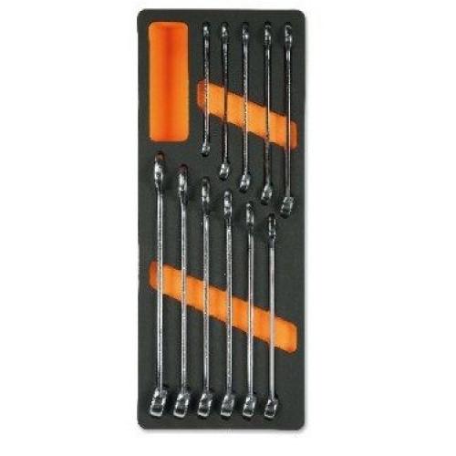 Zestaw 11 kluczy płasko-oczkowych slim w miękkim wkładzie Beta 2450/M13