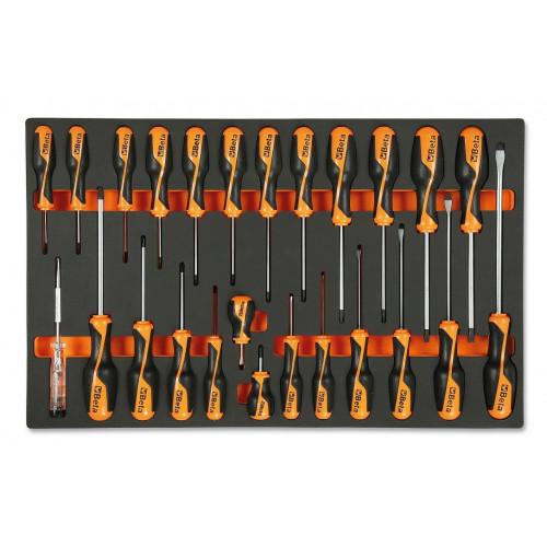 Komplet 25 wkrętaków w miękkim wkładzie profilowanym Beta 2450/M195