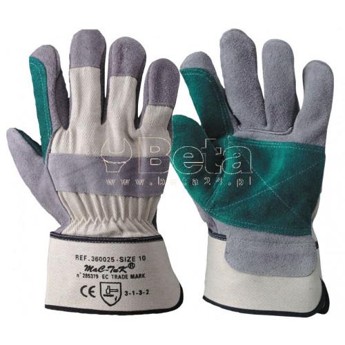 Rękawice 32 TOP z dwoiny bydlęcej najwyższej jakości i płótna MAC-TUK 360025/10