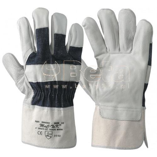 Rękawice 015/B z bydlęcej skóry licowej i płótna Beta 368050/10