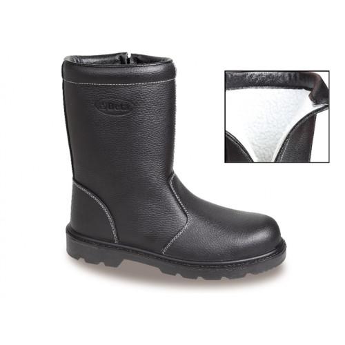 Buty wysokie  bezpieczne ze skóry poszewka z futerka  Beta 7330B