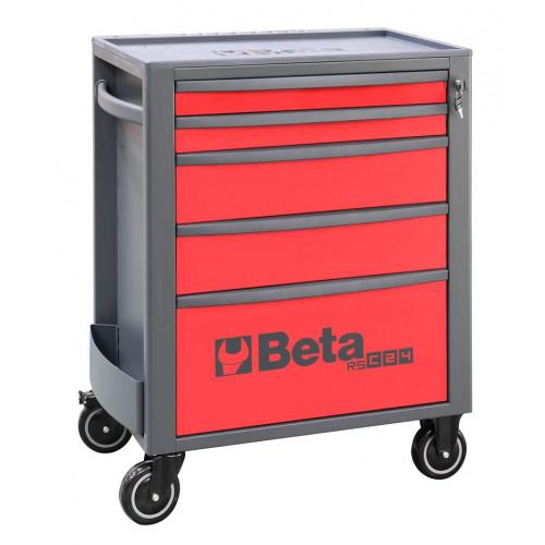 Wózek narzędziowy pusty z 5 szufladami czerwono-szary Beta 2400/RSC24/5-R